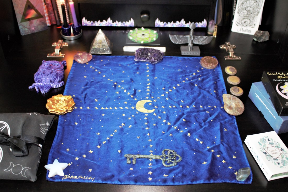 Tarot cloth and crystals set up for Tarot, Lenormand, and Oracle card reading