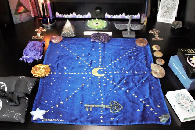 Tarot cloth and crystals set up for Tarot, Lenormand, and Oracle card readings